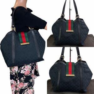 Auth GUCCI Black Jacquard Leather Shoulder Bag